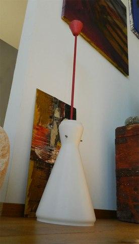 ampadario anni'50-60 in vetro opalino bianco, Balon Lamps, Torino