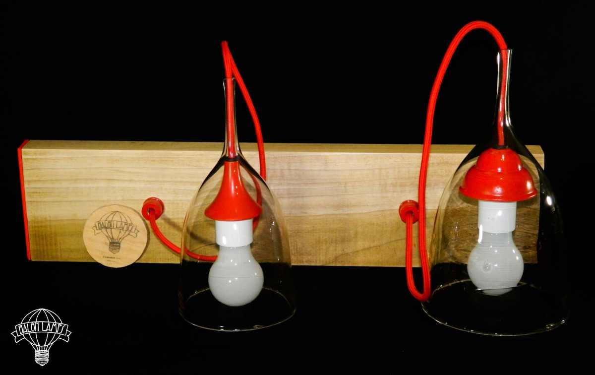 Lampadario sospeso dal design vintage in vetro di Altare. Riciclo creativo, upcycling e ecodesign.